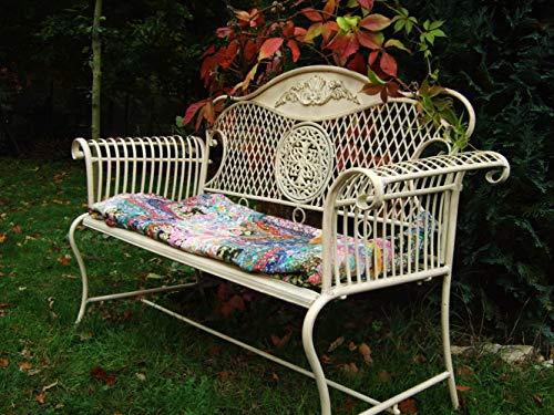 Antikas - Gartenbank Toscana, schöne Gartenmöbel, Metall-Bank, Creme-weiß