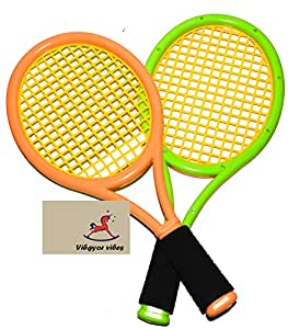 Vibgyor Vibes™ 2 in 1 Outdoor Indoor Tennis Cum Badminton Play Racket Toys for Kids with a Soft Ball and Shuttle for 5 Years and Above