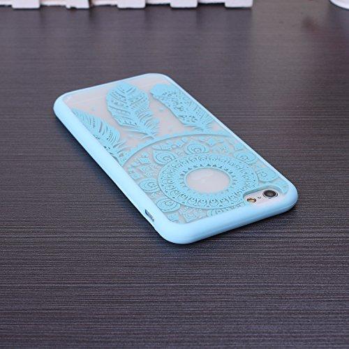 EKINHUI iPhone 5SE 5S Case; Sch¨¹tzende PC harte r¨¹ckseitige Abdeckung Fall mit Druckmuster + TPU Bumper f¨¹r iPhone 5SE, iPhone 5S (Ethnic Tribal Henna-Red) Dream-Blue