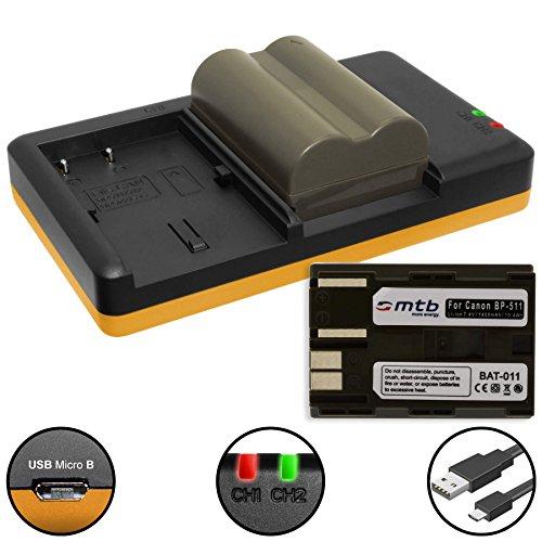 2x Akku + Dual-Ladegerät (USB) für Canon BP-511 / EOS 30D, 50D, 300D.. / EOS D30 D60.. / G3 G5 G6.. / Optura 200MC... / MV.. FV.. ZR.. s. Liste - inkl. Micro-USB-Kabel (Canon Eos 40d Akku)