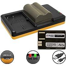 2x Batería + Cargador doble (USB) para Canon BP-511 / EOS 30D, 50D, 300D.. / EOS D30 D60.. / G3 G5 G6.. / Optura 200MC... / MV.. FV.. ZR.. v. lista - contiene cable micro USB