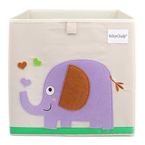 Valleycomfy Aufbewahrungsbox Spielzeugkiste Faltbar Cartoon Cube Organizer Closet Korb 33 x 33 x 33 cm, elefant (Baby-schuh-box)