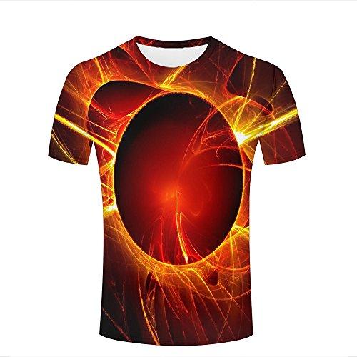 Mens Casual Design 3D Printed Eclipse Digital Art Graphic Short Sleeve Couple T-Shirts Top Tee XXXL (Design Ringer Junior T-shirt)