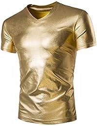 Z Hombres Cuello En V Manga Corta del Verano De Las Camisas Metalicas Club b8752b06397