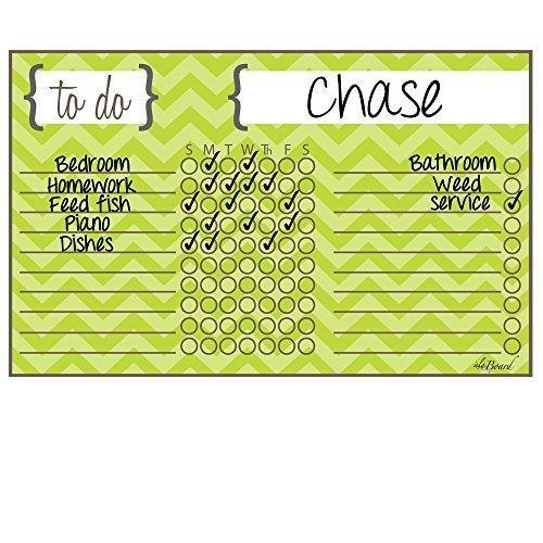 Chore Chart Chevron Stripe Green Magnet by Ala Board