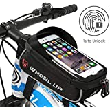 Hikenture® Bicycle Bag with Fingerprint Unlock (Touch ID) Waterproof Frame Bag with TPU Touch Screen, Top Tube Bag for Bike, Mobile Phone Holder Bicycle Suitable for Mobile Phones up to 6 Inches
