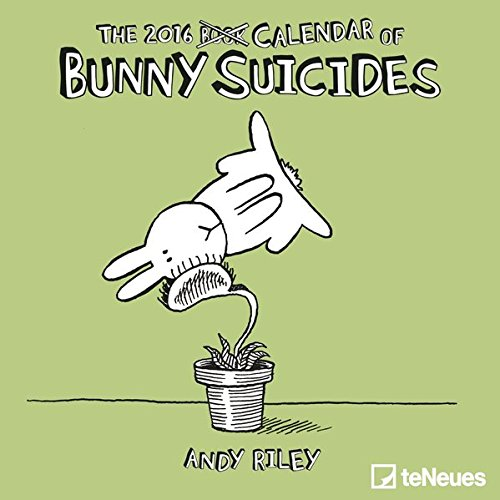 Bunny Suicides 2016 - Mini Grid Calendar Andy Riley Humour Calendar - 17.5 x 17.5 cm