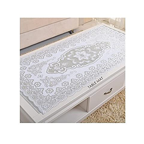 Comfysail Large Rectangular Durable Table Mats Insulation Non-slip PVC PlaceMats Perfect Dining Decoration (Large, Silver)