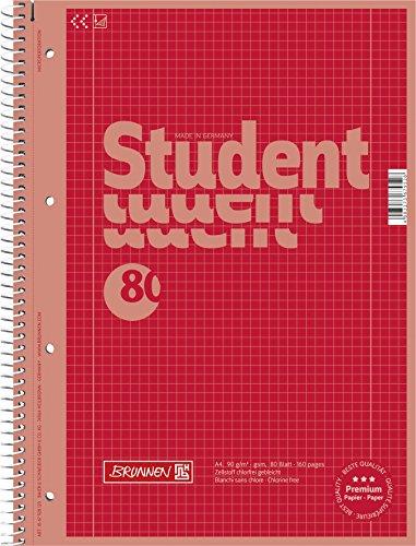 Brunnen 1067928123 Notizblock / Collegeblock Student Colour Code (A4 kariert, Lineatur 28, 90 g/m², 80 Blatt) rot