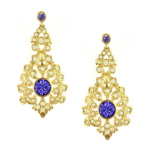 Strictly Ballroom Kostüm - Cristalina Halskette 18 kt vergoldet Barock Stil &Opal Tansanit Swarovski Kristall 4,6 cm