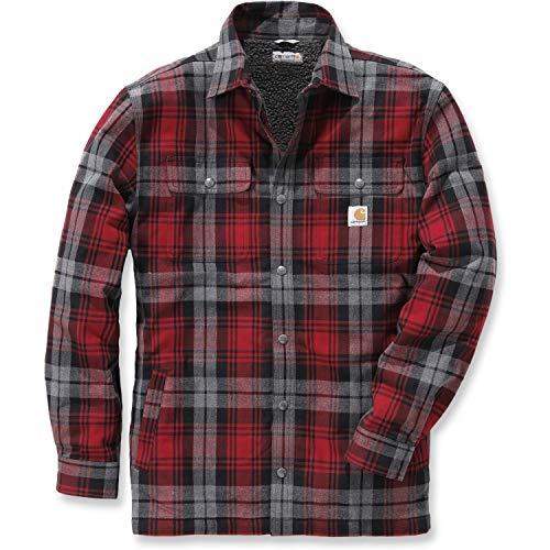 Carhartt .102333.608.S006 Shirt-Jacke Hubbard, gefüttert mit Sherpa-Fleece, Farbe:Dunkelrot, Größe:L -