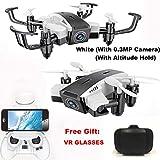 Zusammenklappbare Mini-Drohne RC Quadcopter 480 p / 720p 2,4 GHz 4CH 6-Achsen-Gyro Quadcopter Halten FPV HD Kamera Höhe (Farbe : White t5)
