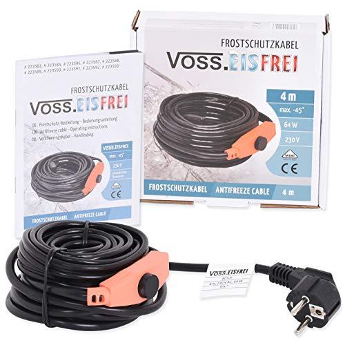 4m Frostschutz Heizkabel mit Knopf-Thermostat VOSS.eisfrei, 230V, Heizleitung Zum Schutz von Wasserleitungen und Weidetränken