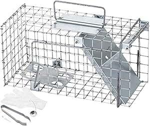 Rattenfalle XXL mit viel Zubehör 35 cm I Schneller und einfacher Fang I Wetterfeste und Robuste Falle I Lebendfallen mit 1 Eingang für Ratten I Lebend Rattenfallen Lebendrattenfallen