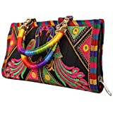 S A Gifts Sai Amrut Women's Cotton Clutch Hand Bag with Embroidery Work Purse (Black_25 x 13 x 2)