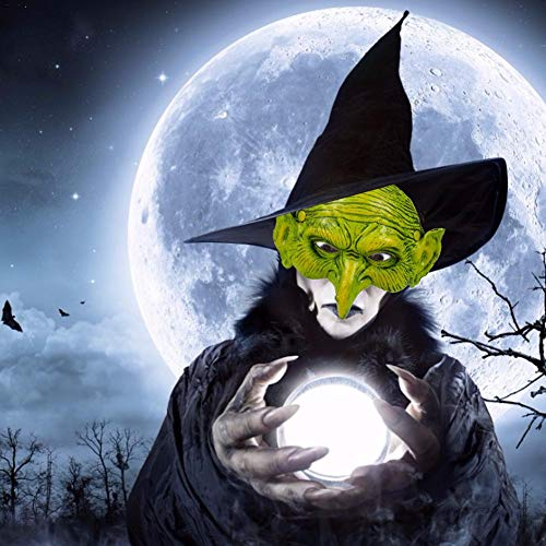 Kostüm Kind Pretty Witch - pretty-H Interessante Hexenmaske Halbes Gesicht PU Schaum Grüne Maske Partyhüte Masken für Halloween Weihnachts Karneval Party fashion up-to-date