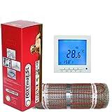 FOXYSHOP24-elektrische Fußbodenheizung PREMIUM MARKE FOXYMAT.SL RAPID (200 Watt pro m²,für die schnelle Erwärmung) mit Thermostat QM-BLUE,Komplett-Set, 5.0 m² (0.5m x 10m)