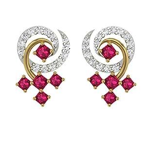 TBZ - The Original 18k Yellow Gold and Diamond Stud Earrings