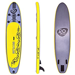 51TX%2Bofl0gL. SS300  - COSTWAY 10FT/11FT SUP Inflatable Stand Up Paddle Board W/Carry Bag, Repair Kit, Tail Vane, Adjustable Paddle, Hand Pump with Pressure Gauge, Ideal Beginners Soft Surfing Board Kit