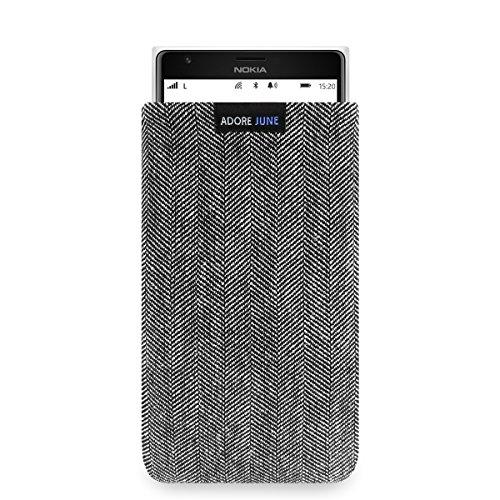 Adore June Business Tasche für Nokia Lumia 1520 Handytasche aus charakteristischem Fischgrat Stoff - Grau/Schwarz | Schutztasche Zubehör mit Bildschirm Reinigungs-Effekt | Made in Europe