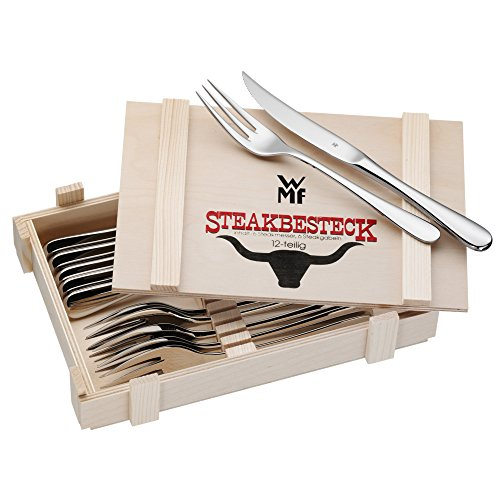 WMF Steak Set 12-Pieces for 6 Persons in Wooden Box Cromargan Stainless Steel Stainless Polished