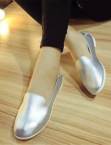 ShangYi gyht Scarpe Donna-Mocassini-Tempo libero / Casual-Comoda-Piatto-Finta pelle-Nero / Bianco / Argento White