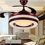 LED Unsichtbare Deckenventilator Kronleuchter, 36 Zoll Fernbedienung Deckenventilatoren mit Beleuchtung Einfache Moderne für Schlafzimmer Wohnzimmer Esszimmer (Rotwein)