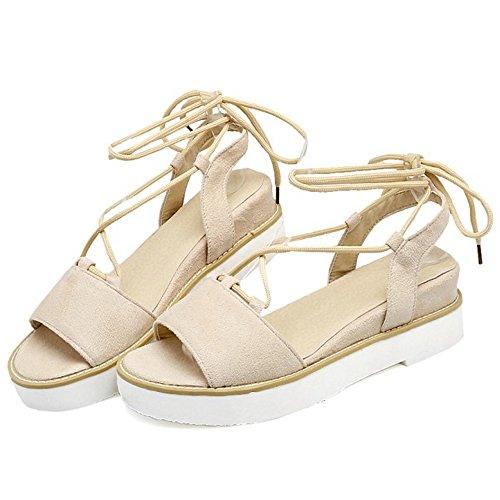 COOLCEPT Femmes Mode Lacets Des Sandals Talons Compenses Cut Out Peep Toe Slingback Chaussures Beige