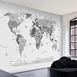 murando Photo Wallpaper 250x175 cm Non-Woven Premium Art Print Fleece Wall Mural Decoration Poster Picture Design Modern World map map Black White k-B-0055-a-a