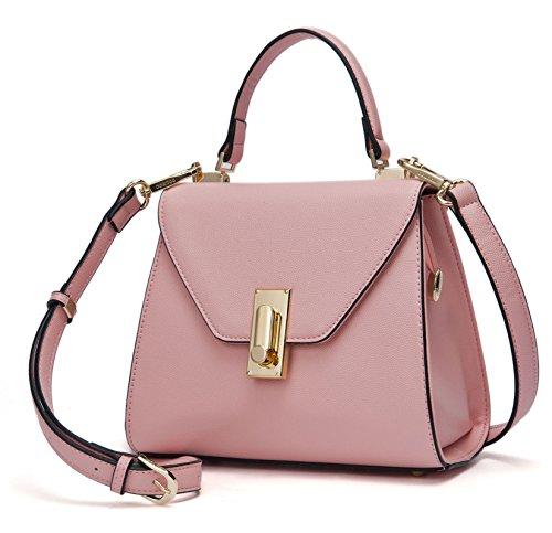 Damen Handtaschen Schultertaschen Umhängetasche Tornistertaschen Top-Griff Tragetasche Leder Rosa
