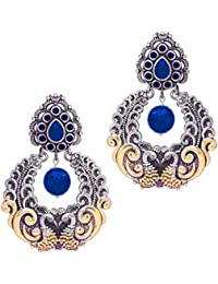 Peora Indian Traditional Hand Made Designer Peacock Two Tone German Oxidised Silver Plated Dangle Drop Earrings for Women