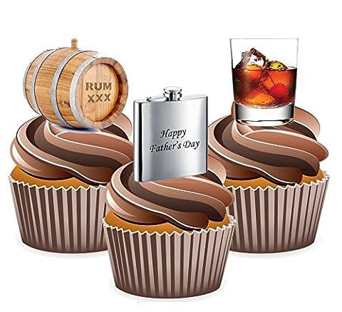 Fathers Day Rhum pour gâteaux Thème, Yummy Décorations comestibles pour goût vanille, 24