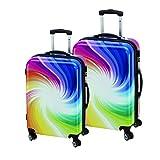 2-teiliges Trolley-Koffer-Set Reisekoffer Hartschale TWISTER Bunt