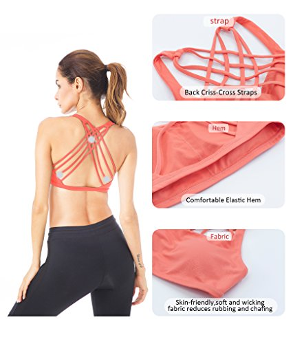 Queenie Ke Donna Reggiseno Sportivo Yoga Spalline Incrociate Imbottite Rimovibili Arancione