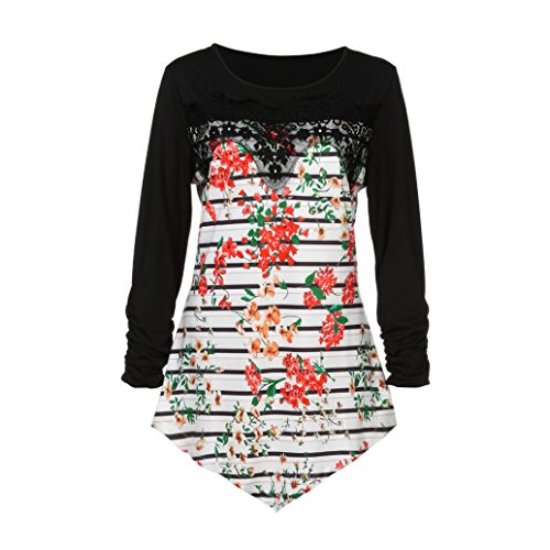 en Langarm Bluse Plus Size Kurzärmelige Unregelmäßige T-shirt Lose Elegant Blusen Baumwolle Bluse Slim Fit Blusenshirt Mode Billig Tops (XXXXXL, Schwarz) (Billig Plus Size)