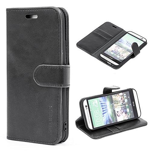 Mulbess Ledertasche im Ständer Book Case / Kartenfach für HTC One M8 Tasche Hülle Leder Etui,Schwarz