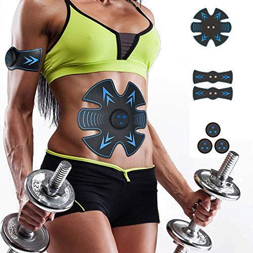 ANKIKI USB-Aufladung Bauchmuskelstimulator Faule Fitness-Aufkleber Trainermuskel Bauchinstrument EMS Toner Muskelstimulator Zuhause Büro Trainieren Fitnessgeräte