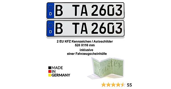 2 Eu Kfz Kennzeichen Autoschilder 520 X 110 Mm Inklusive Einer Fahrzeugscheinhülle Auto