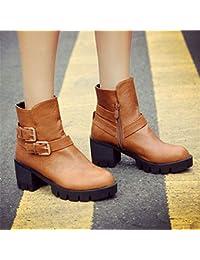 Amazon Marron Zapatos Para 36 es Mujer Cordones Claro AOqvPO