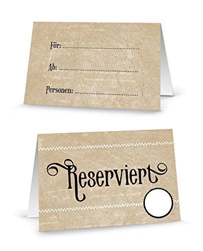 Dem Tisch Die Auf Karten (100 Stück beige-braun creme-farben neutrale RESERVIERT-SCHILDER-TISCH-AUFSTELLER kleine Karten Kärtchen - Klapp-Karten für die TISCH-Reservierung der Gäste - MIT JEDEM Stift beschreibbar!)