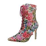 Ital-Design High Heel Stiefeletten Damen-Schuhe Pfennig-/Stilettoabsatz Heels Reißverschluss Pink Multi, Gr 37, Jr-046-