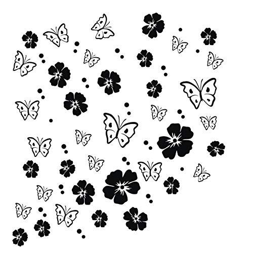 kleb-drauf® | 19 Blüten, 19 Schmetterlinge und 42 Punkte | Schwarz - matt | Wandtattoo Wandaufkleber Wandsticker Aufkleber Sticker | Wohnzimmer Schlafzimmer Kinderzimmer Küche Bad | Deko Wände Glas Fenster Tür Fliese