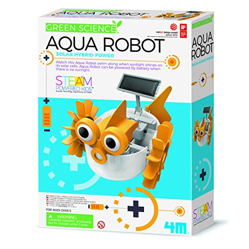 4M 403415 Green Science Aqua Robot-Solar Hybrid Power, Multi