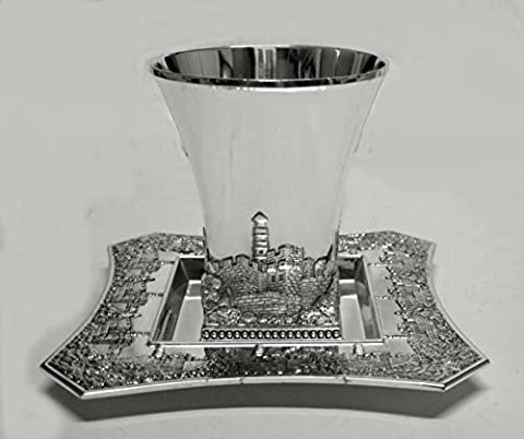 Square Silver Plated Jerusalem Kiddush Wine Cup and