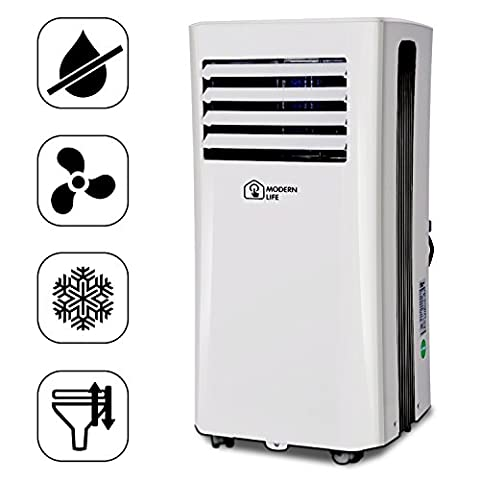 Modern Life mobiles Klimagerät 2.6KW 9000 BTU für privates Schlafzimmer Büro mit Air Cooler, Luftreiniger Fan & Entfeuchtung 25 l, [Energieeffizienzklasse a], Silent Technologie, mobile