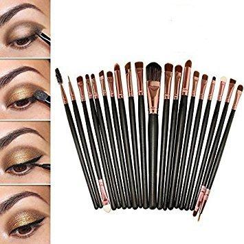 nselset Makeup Bürsten Foundation Lidschatten Eyeliner Mascara Lippen Make-up Pinsel Kosmetik Set -Mit eine Rosa Tasche ()