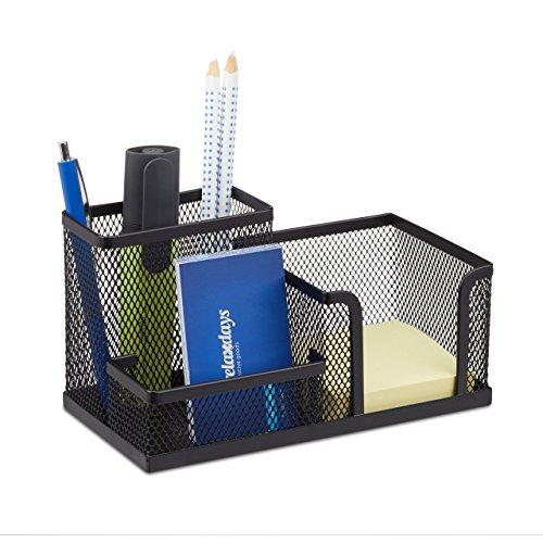 Relaxdays Schreibtischorganizer, Büroablage mit Stiftehalter und Zettelhalter, Metall Mesh, HBT:...