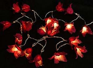 Chaîne légère de fleur Oriental 20 pièces rouge