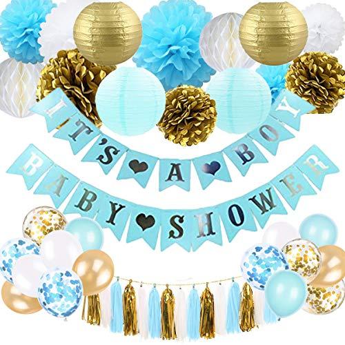 onen für Jungen - Blau und Gold Baby Shower Dekoration Es ist EIN Boy & Baby Shower Banner mit Papierlaterne Pompoms Blumen Honeycomb Ballons Quaste ()