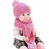 casquettes de Bébé, Yogogo Mignonne bébé Filles Garçons Laine d'hiver chaude  Écharpe + chapeau (Rose vif)